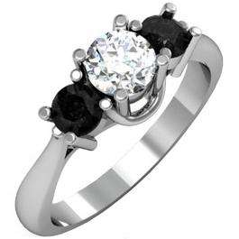 1.00 Carat (ctw) 18k White Gold Round White and Black Diamond Ladies 3 Stone Bridal Engagement Ring 1 CT