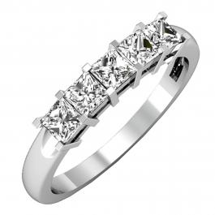 IGI CERTIFIED 0.75 Carat (ctw) 14K White Gold Princess Cut White Diamond Ladies 5 Stone Bridal Wedding Band Anniversary Ring 3/4 CT