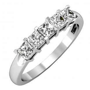 0.75 Carat (ctw) 14k White Gold Princess Cut White Diamond Ladies 5 Stone Bridal Wedding Band Anniversary Ring 3/4 CT