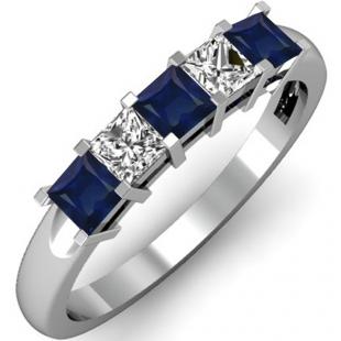 0.75 Carat (ctw) 10k White Gold Princess Cut Blue Sapphire and White Diamond Ladies 5 Stone Bridal Wedding Band Anniversary Ring 3/4 CT