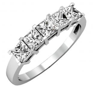 1.00 Carat (ctw) 18k White Gold Princess Cut White Diamond Ladies 5 Stone Bridal Wedding Band Anniversary Ring 1 CT