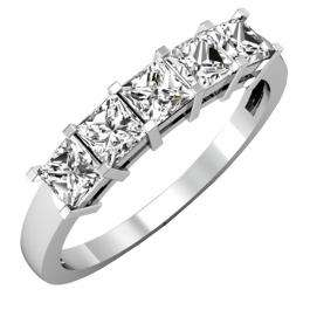 IGI CERTIFIED 1.02 Carat (ctw) 14K White Gold Princess Cut White Diamond Ladies 5 Stone Bridal Wedding Band Anniversary Ring 1 CT