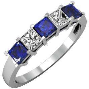 1.00 Carat (ctw) 14k White Gold Princess Cut Blue Sapphire and White Diamond Ladies 5 Stone Bridal Wedding Band Anniversary Ring 1 CT