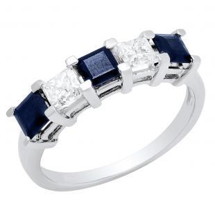 2.00 Carat (ctw) 14k White Gold Princess Cut Blue Sapphire and White Diamond Ladies 5 Stone Bridal Wedding Band Anniversary Ring 2 CT