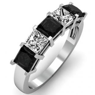 2.00 Carat (ctw) 14k White Gold Princess Cut Black and White Diamond Ladies 5 Stone Bridal Wedding Band Anniversary Ring 2 CT