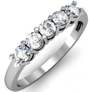 IGI CERTIFIED 0.46 Carat (ctw) 14K White Gold Round White Diamond Ladies 5 Stone Bridal Wedding Band Anniversary Ring 1/2 CT
