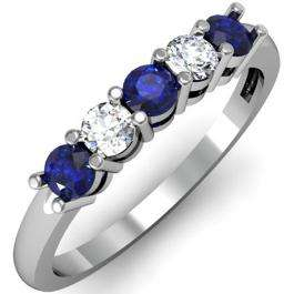 0.50 Carat (ctw) 14K White Gold Round Blue Sapphire and White Diamond Ladies 5 Stone Bridal Wedding Band Anniversary Ring 1/2 CT