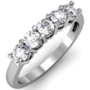 IGI CERTIFIED 0.72 Carat (ctw) 14K White Gold Round White Diamond Ladies 5 Stone Bridal Wedding Band Anniversary Ring 3/4 CT