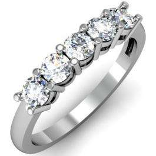 IGI CERTIFIED 0.73 Carat (ctw) 14K White Gold Round White Diamond Ladies 5 Stone Bridal Wedding Band Anniversary Ring 3/4 CT