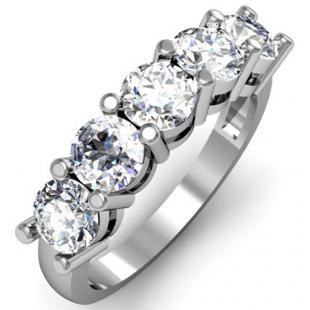 IGI CERTIFIED 0.97 Carat (ctw) 14K White Gold Round White Diamond Ladies 5 Stone Bridal Wedding Band Anniversary Ring 1 CT