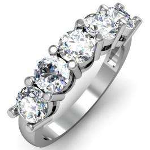 IGI CERTIFIED 0.95 Carat (ctw) 14K White Gold Round White Diamond Ladies 5 Stone Bridal Wedding Band Anniversary Ring 1 CT