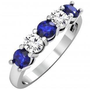 1.00 Carat (ctw) 18K White Gold Round Blue Sapphire and White Diamond Ladies 5 Stone Bridal Wedding Band Anniversary Ring 1 CT