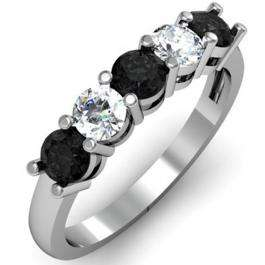 1.00 Carat (ctw) 14K White Gold Round Black and White Diamond Ladies 5 Stone Bridal Wedding Band Anniversary Ring 1 CT