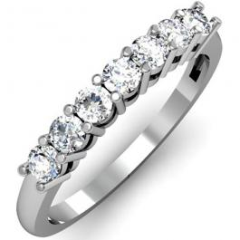 0.50 Carat (ctw) 18K White Gold Round White Diamond Ladies 7 Stone Bridal Wedding Band Anniversary Ring 1/2 CT
