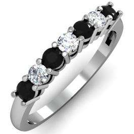 0.50 Carat (ctw) 18K White Gold Round Black and White Diamond Ladies 7 Stone Bridal Wedding Band Anniversary Ring 1/2 CT