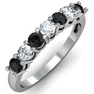 0.75 Carat (ctw) 18K White Gold Round Black and White Diamond Ladies 7 Stone Bridal Wedding Band Anniversary Ring 3/4 CT