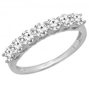 1.50 Carat (ctw) 10K White Gold Round White Cubic Zirconia Ladies 7 Stone Bridal Wedding Band Anniversary Ring 1 CT
