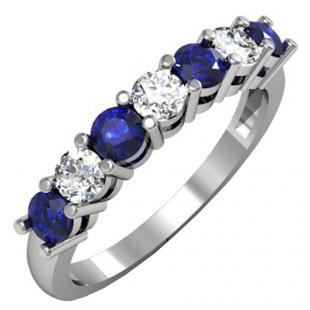 1.00 Carat (ctw) 18K White Gold Round Blue Sapphire and White Diamond Ladies 7 Stone Bridal Wedding Band Anniversary Ring 1 CT