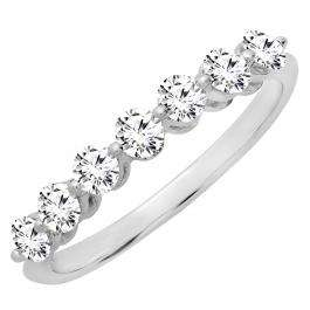 0.50 Carat (ctw) 18K White Gold Round White Diamond Ladies 7 Stone Bridal Wedding Band Anniversary Ring 1/2 CT