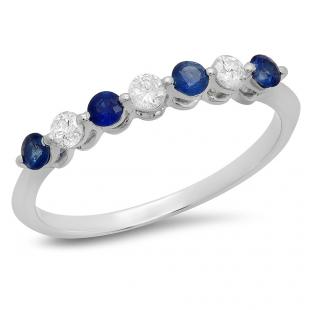 0.50 Carat (ctw) 10K White Gold Round Blue Sapphire and White Diamond Ladies 7 Stone Bridal Wedding Band Anniversary Ring 1/2 CT