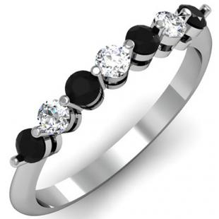0.50 Carat (ctw) 14K White Gold Round Black and White Diamond Ladies 7 Stone Bridal Wedding Band Anniversary Ring 1/2 CT