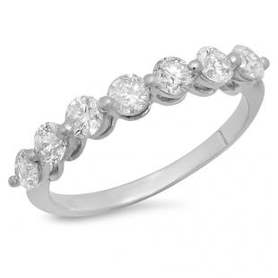 1.00 Carat (ctw) 18K White Gold Round White Diamond Ladies 7 Stone Bridal Wedding Band Anniversary Ring 1 CT