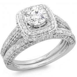 2.00 Carat (ctw) 14k White Gold Round Diamond Ladies Halo Style Bridal Engagement Ring Set Matching Band 2 CT