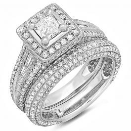 2.30 Carat (ctw) 14k White Gold Princess and Round Diamond Ladies Halo Style Bridal Engagement Ring Set With Matching Band 2 1/3 CT