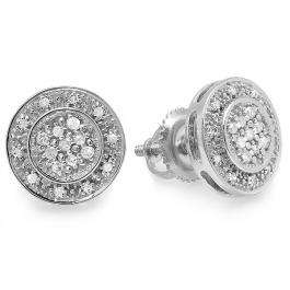 0.16 Carat (ctw) Sterling Silver Round White Diamond Ladies Cluster Stud Earrings 1/6 CT