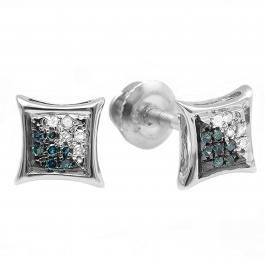 0.07 Carat (ctw) Sterling Silver Round Blue & White Diamond Micro Pave Setting Kite Shape Stud Earrings