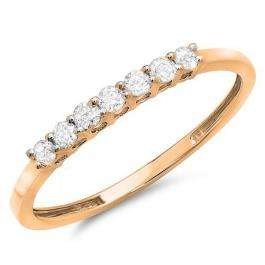 0.25 Carat (ctw) 14k Rose Gold Round Diamond Ladies 7 Stone Anniversary Wedding Band Stackable Ring 1/4 CT