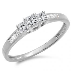 0.50 Carat (ctw) 10K White Gold Princess Cut Diamond Ladies 3 Stone Bridal Engagement Ring 1/2 CT