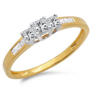 0.50 Carat (ctw) 10K Yellow Gold Princess Cut Diamond Ladies 3 Stone Bridal Engagement Ring 1/2 CT