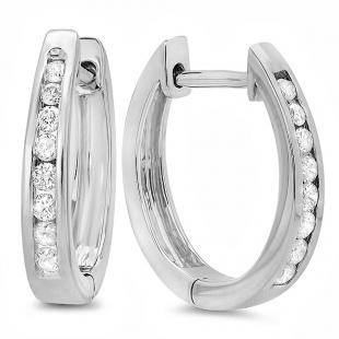 0.20 Carat (ctw) 18K White Gold Round Diamond Ladies Hoop Earrings 1/5 CT