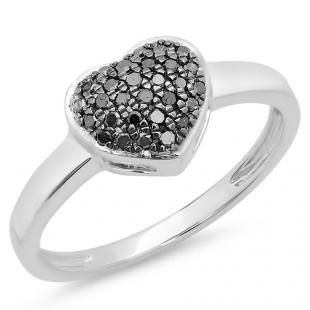 0.20 Carat (ctw) 18k White Gold Round Black Diamond Ladies Bridal Heart Shaped Engagement Promise Ring 1/5 CT
