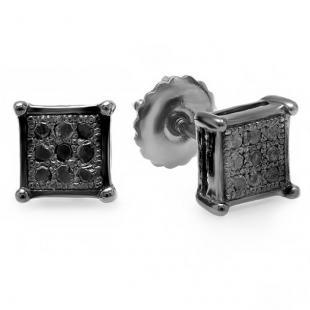 0.05 Carat (ctw) Black Rhodium Plated Sterling Silver Round Black Diamond Square Shape Men's Hip Hop Iced Stud Earrings