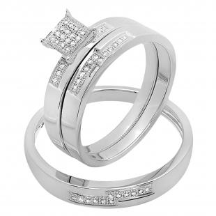 0.15 Carat (ctw) 10K White Gold Round White Diamond Men and Women's Micro Pave Engagement Ring Trio Bridal Set