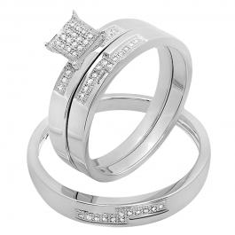 0.15 Carat (ctw) 14K White Gold Round White Diamond Men and Women's Micro Pave Engagement Ring Trio Bridal Set