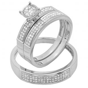 0.33 Carat (ctw) 10K White Gold Round White Diamond Men & Women's Micro Pave Engagement Ring Trio Bridal Set 1/3 CT