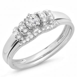 0.30 Carat (ctw) 18K White Gold Round White Diamond Ladies Bridal Engagement Ring Set 1/3 CT