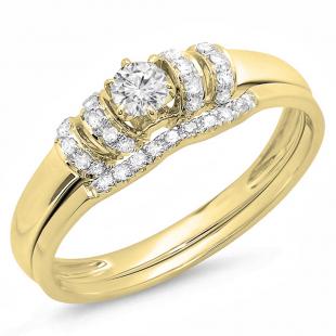 0.30 Carat (ctw) 18K Yellow Gold Round White Diamond Ladies Bridal Engagement Ring Set 1/3 CT