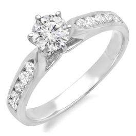1.20 Carat (ctw) 14k White Gold Round Diamond Ladies Solitaire With Accents Bridal Engagement Ring 1 1/4 CT