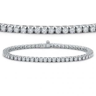 10.00 Carat (ctw) 14K White Gold Round Cut Real Diamond Ladies Tennis Bracelet 10 CT