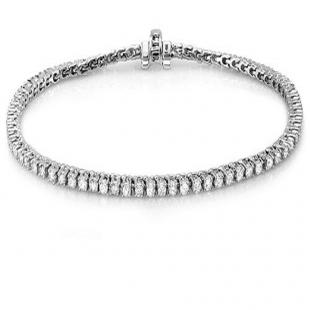 8.00 Carat (ctw) 18K White Gold Round Cut Real Diamond Ladies Tennis Bracelet 8 CT