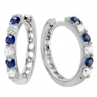 0.33 Carat (ctw) 18k White Gold Round Diamond Ladies Huggies Hoop Earrings 1/3 CT
