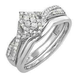 0.33 Carat (ctw) Round White Diamond Ladies Bridal Engagement Ring Set 1/3 CT, 10K White Gold