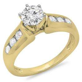 1.00 Carat (ctw) 14K Yellow Gold Round Cut Diamond Ladies Bridal Solitaire With Accents Engagement Ring 1 CT