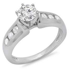 1.00 Carat (ctw) 14K White Gold Round Cut Diamond Ladies Bridal Solitaire With Accents Engagement Ring 1 CT