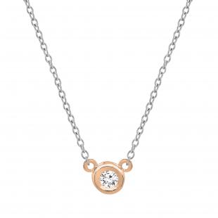 0.05 Carat (ctw) 10k Rose Gold Round Diamond Ladies Bezel Set Solitaire Pendant 1/20 CT