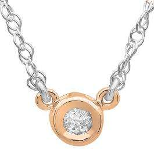 0.33 Carat (ctw) 14K Rose Gold Round Diamond Ladies Bezel Set Solitaire Pendant 1/3 CT